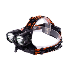 New Promotion 2000 Lumen Dual XML T6 LED Camping Rechargeable Aluminum Alloy LED Headlamp Manufacturers