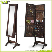 Bedroom jewelry armoire with full length mirror