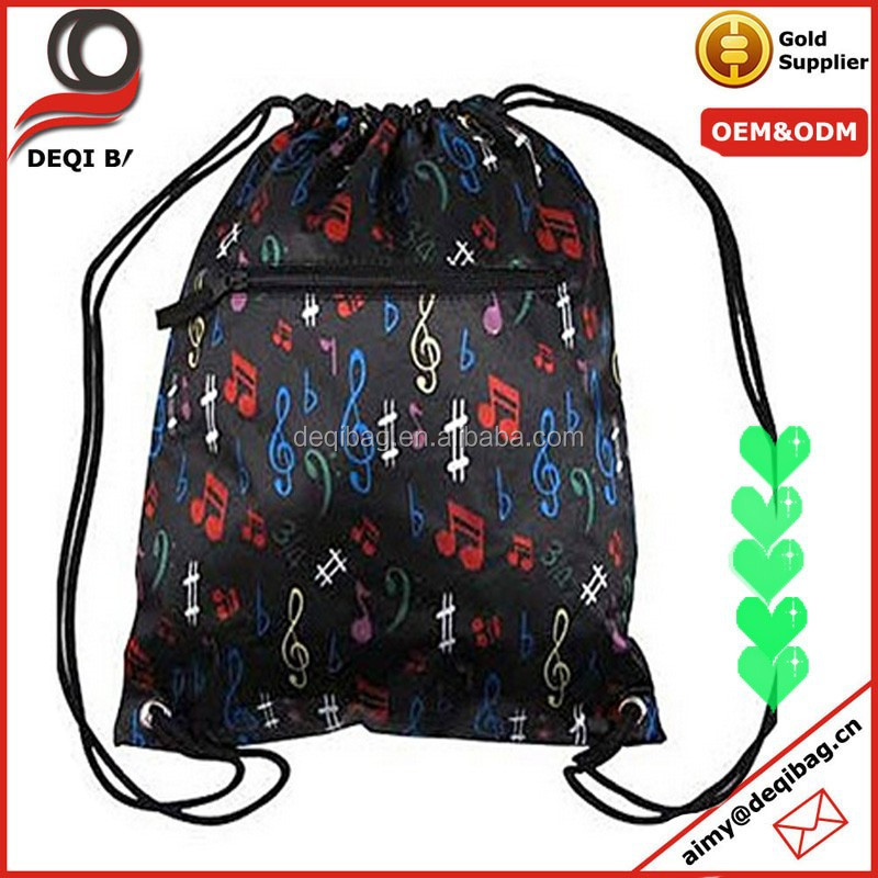 Music Notes Drawstring Sling Backpack Book Bag Rope Straps