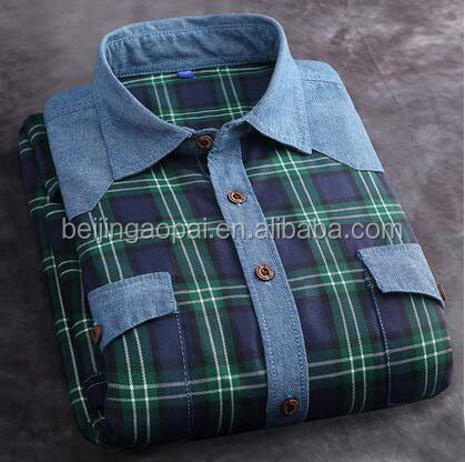 OEM service men clothes 100% polyester loose design plaids flannel branded low price casual cotton fabric shirt