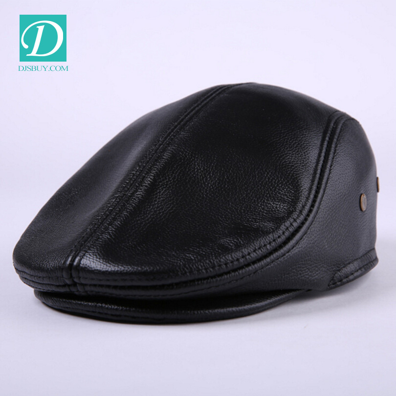 new design men leather newsboy beret hat