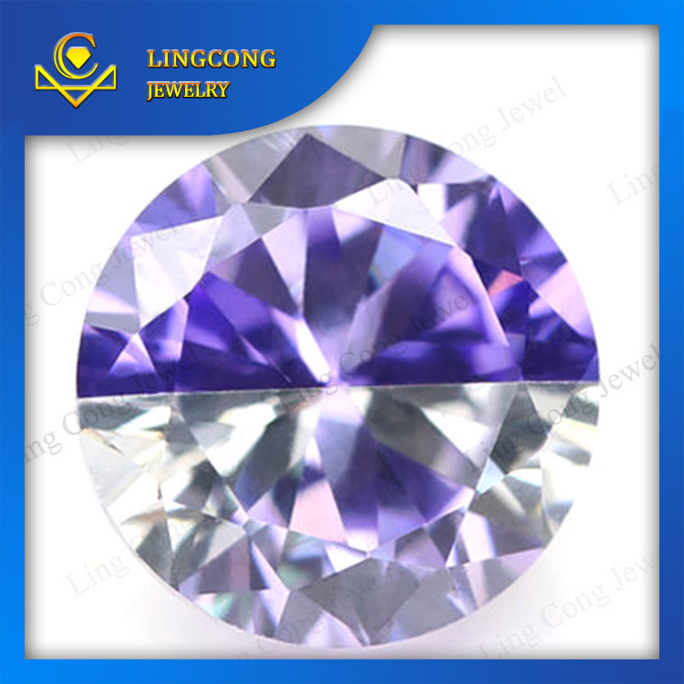 cz material loose round shape mixed color zirkon