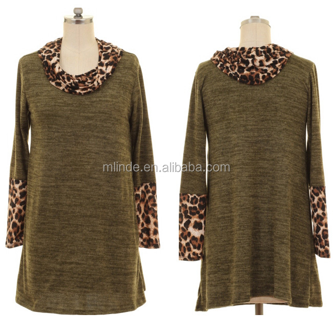 WOMEN LATEST HIGH FASHION PLUS SIZE BLOUSES WHOLESALE CUSTOM CHIC DESIGNS CONTRAST LEOPARD PRINT COWL NECK KNIT TUNIC TOP