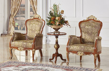 Antique Classic Palace Leisure Chair, Carved Wooden Single Sofa Chair, Luxury Gold Painting Living Room Furniture