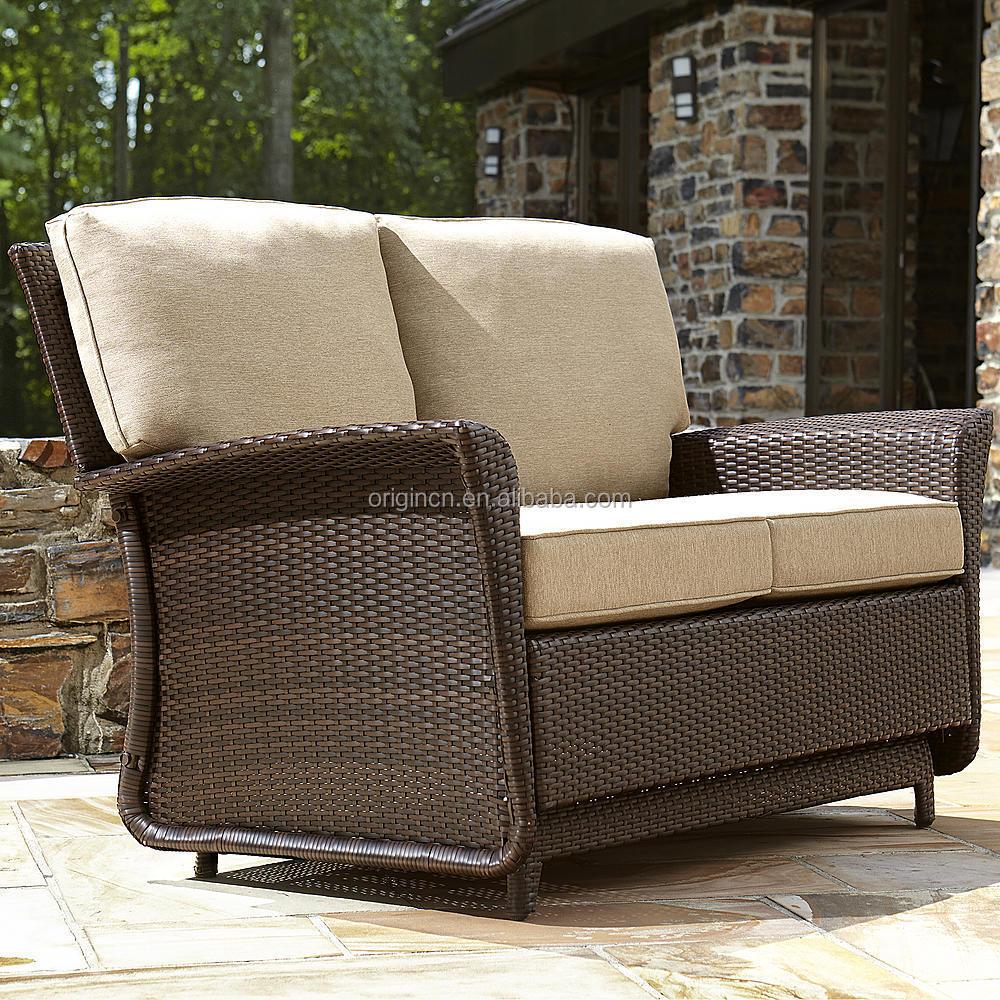 Outdoor Wicker Glider Sofa: Deluxe Parkside Style Wicker Outdoor Garden Patio Loveseat
