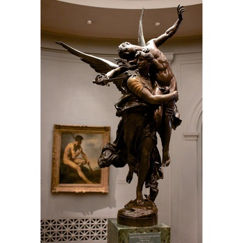 Western life size bronze decor classical famous nude warrior with a spear angel statue