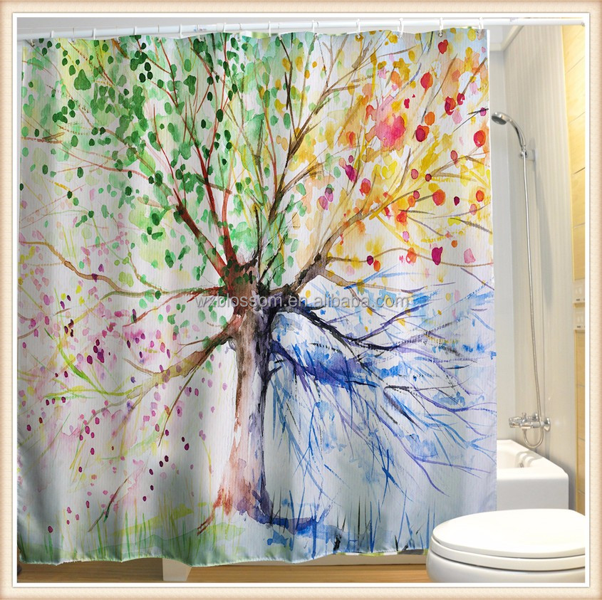 Polyester Waterproof digital printed leaf shower curtain