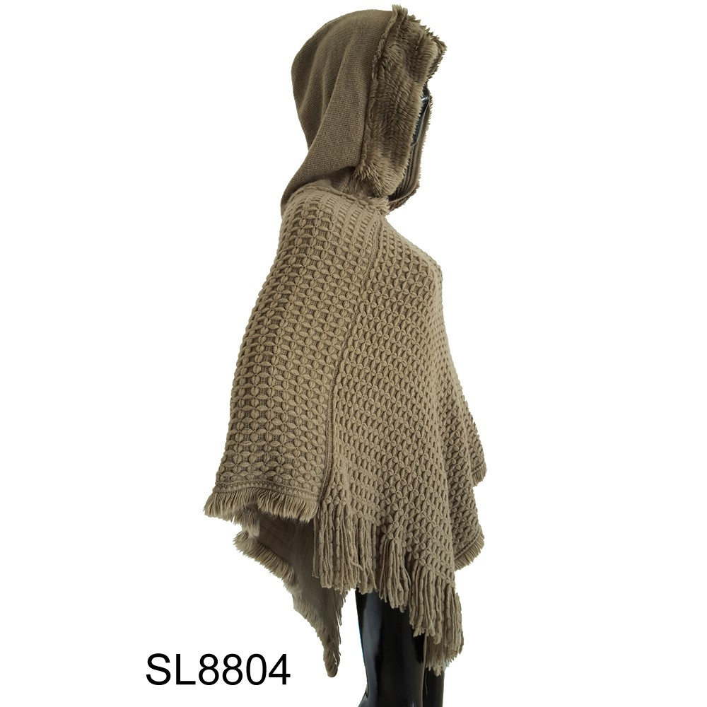 Large size newest style with hat handmade sweater poncho