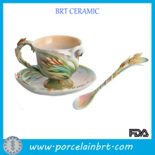 Innovation and Attractive Porcelain Tea Cup with Saucer and Spoon