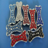 Compet Produce 10mm Rhinestone Promotional Gifts Zinc Alloy Slide Bone Charms for Dog Collars & Human Bracelets