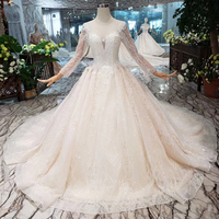 HTL212 long sleeves princess ball gown real picture white pakistani bridal dresses with train