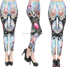 3615 2015 wholesal hot sale fashion new european Department of blue black colored gemstones digital printed sexy women pants