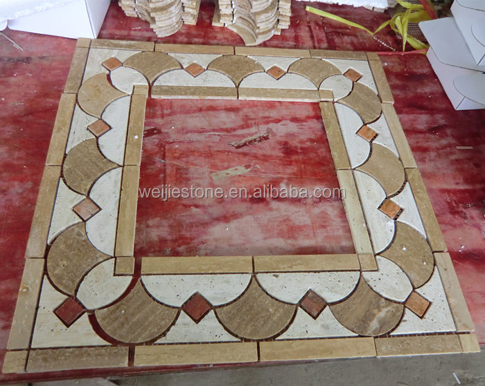 Travertine water jet mosaic tile, travertine mosaic tile borders