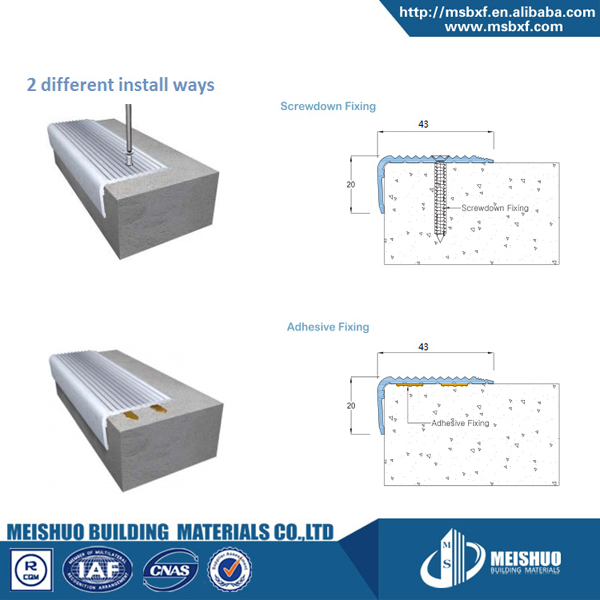safety tile step anti slip anodized aluminium stair profiles