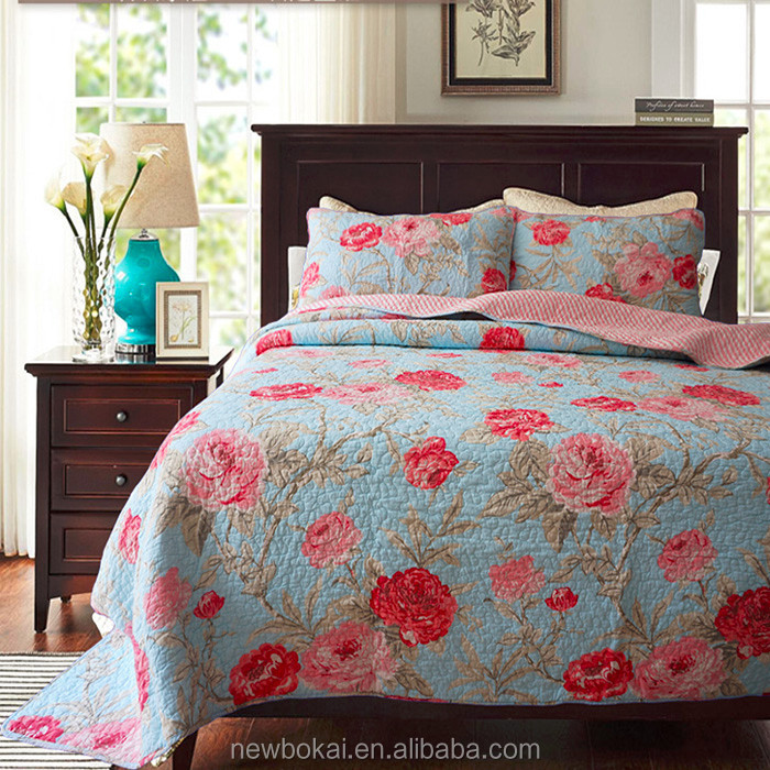 Cotton fabric cotton filling floar printed all size bedding set 3pc bedapread
