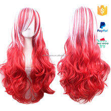 wholesale woman party long red synthetic wig