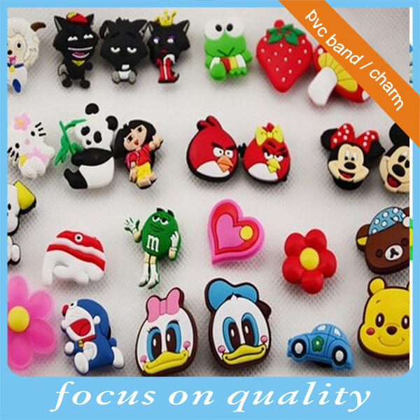 High quality customized 3d shoe flower rubber pvc lucky charms decoration