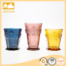 New design fancy short stemless wine glass, 550ml amber glass wine cup with gift box wholesale