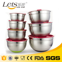 Non Slip Silicon Base Personalized Stainless Steel Fruit Salad Mixing Bowl With Lid