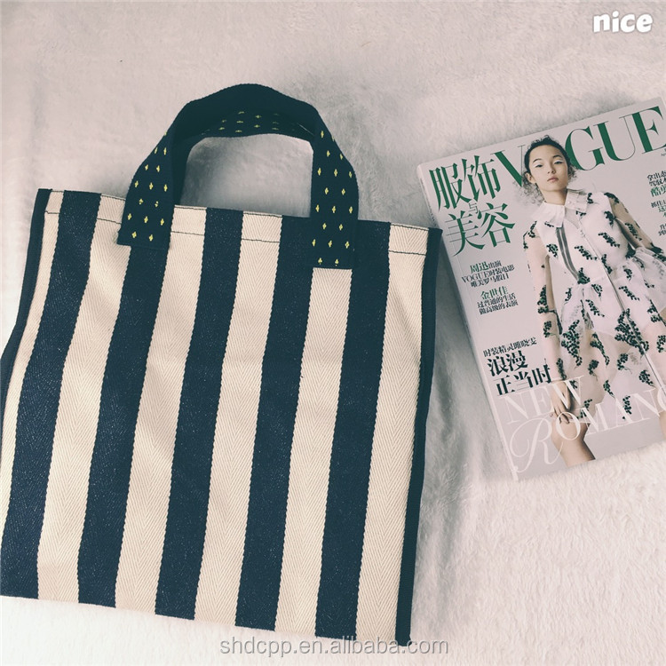 bule and white stripe wholesale canvas tote bag for beach