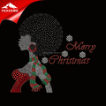 Merry Christmas Rhinestone Heat Transfer Afro Girl Iron on Scarf Transfer for Garment