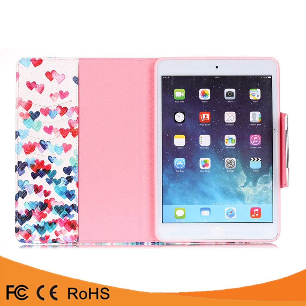 Bulk buy from china paint colors stand card holder pu leather flip cover case for ipad 5