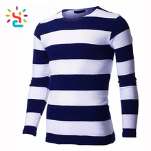 Long sleeve 100% cotton dashiki shirts for men man winter warm shirt custom flat knit stripe t-shirt