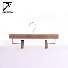 Metal Accessory Wooden Hanger with U shape wire + Non-slip Clips - T523 for Pants/SKirt