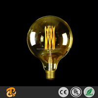 6W G125 Dimmable Filament LED Light Bulb With Amber Glass