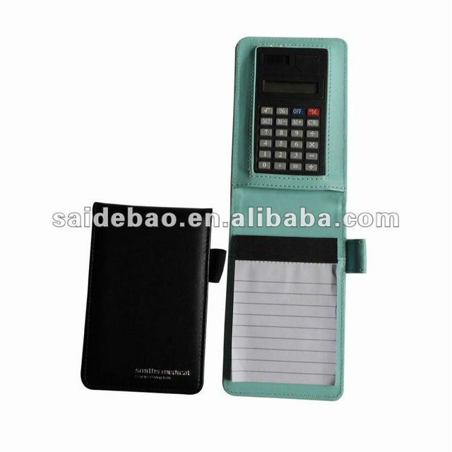 Fashionable mini leather notepad with card holder&pen holder&calculator