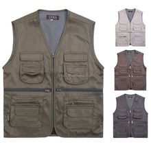 2016 Outdoor Multi-Pocket Hiking Canvas Vest Men's Cameraman Director Reporter Waistcoat Male Sleeveless Jackets