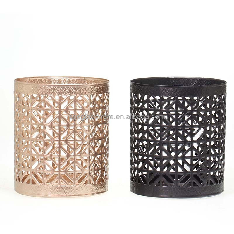tabletop glass metal candle holder