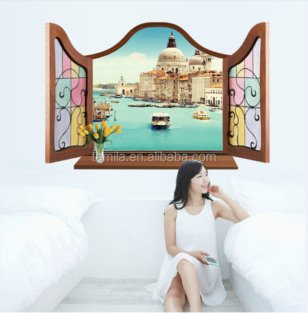 3D Window Sea Scenery Wall Sticker home Decor Decals