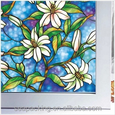 China OEM decorative printing Non-glue 2D/3D glass protective static cling window film that changes color