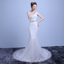 2017 Latest Elegant Sleeveless Sexy Lace Appliqued Long Tail Mermaid Wedding Dress