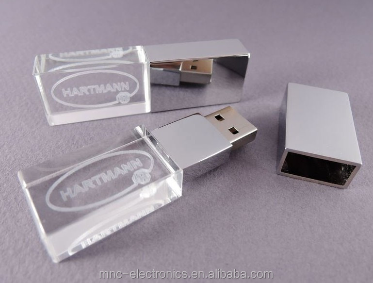 Hot selling transparent glass material customized 3D engraving logo 4GB crystal usb flash drive disk on key pendrives