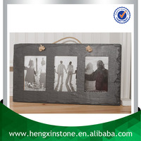 Factory Direct Price 32*25cm Handmade Decorative Family Laser Design Natural Slate Triple Photo Frame