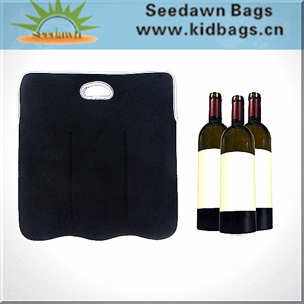 3 Packs Neoprene Wine Carrier Cooler Bag with Handles Carrying Three Bottles