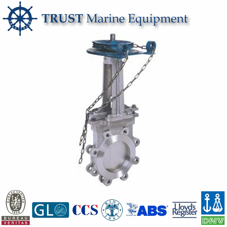 Cast steel lugged chain wheel knife gate valve