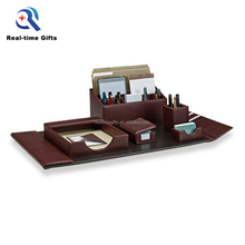 Luxury Business Table Organizer 6 Pieces PU Office Leather Desk Set