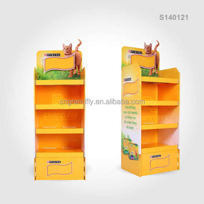 Custom Corrugated Cardboard Display with 4 Shelf for Pet Food