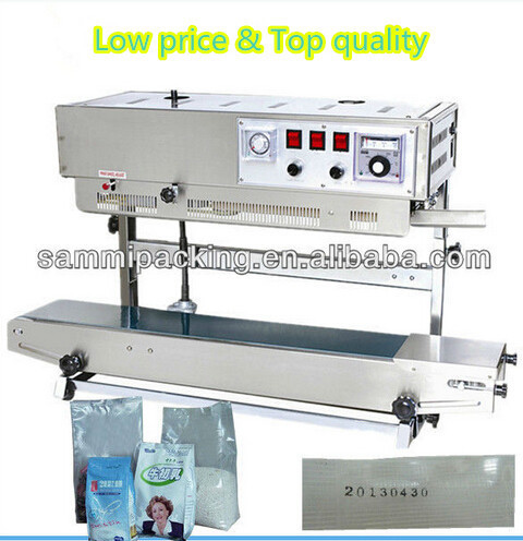 Hot selling plastic bag sealer,standing up pouch continuous band sealer with print expiry date