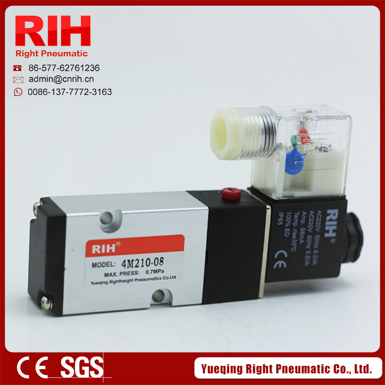 Right Pneumatic 5/2 way control valve micro 24 volt magnetic solenoid valve 220v