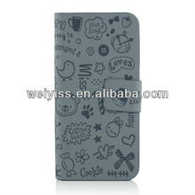 Wholesal Lovely Graffiti Pattern PU Leather Folio Case for iPhone 5