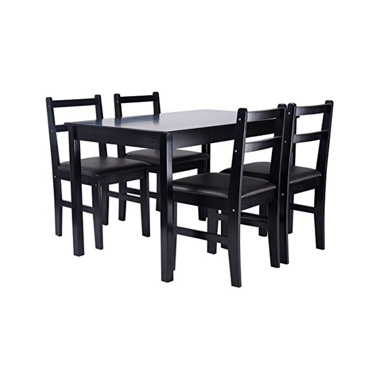 Modern Simple Living Room Furniture Pine Wood PU Cushion Black Dining Table and Chairs
