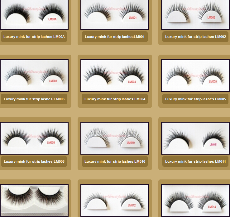 Worldbeauty Luxury Mink hair strip eyelash LM090, LM087,LMB017