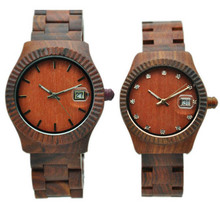 2017 hot-selling couple wooden bamboo watch for lover custom logo with calendar
