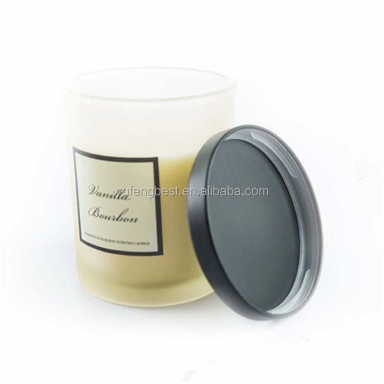 frosted glas jars with black lids