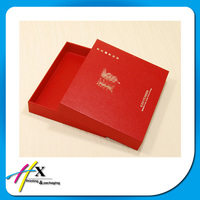 Custom made luxury rigid Chinese red square textured gift packaging box with lid