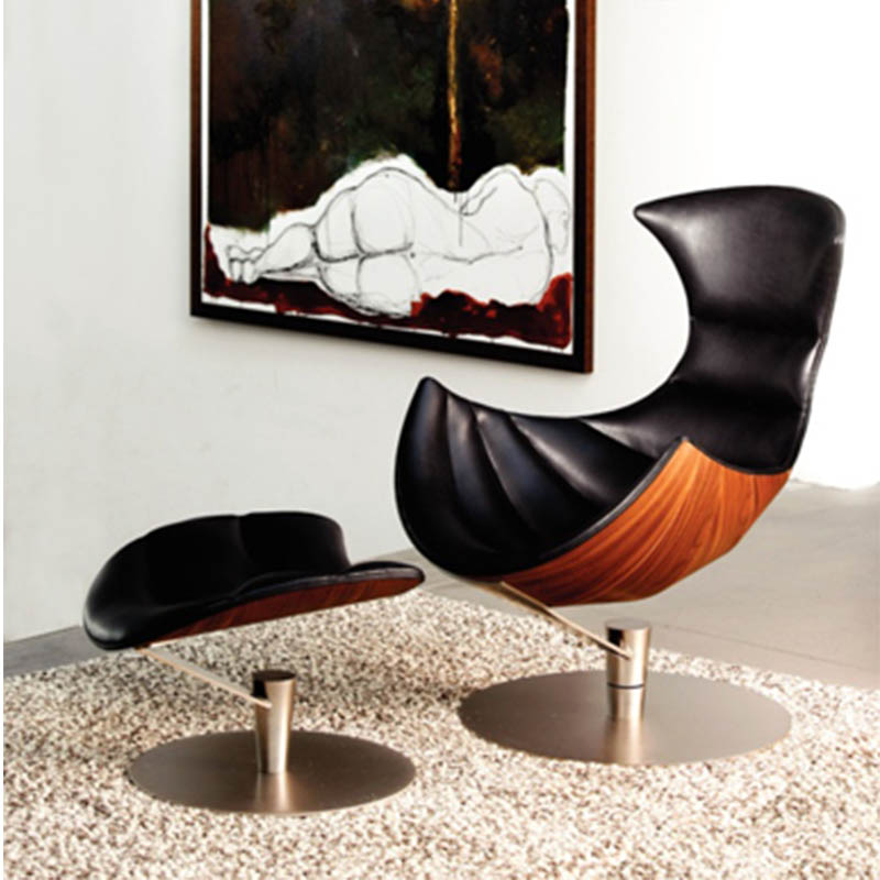 Replica Lund & Paarmann european leather lounge lobster <strong>chair</strong> and ottoman in fibreglass